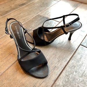 Bandolino Strappy Crepe/Leather Heels - Size 7